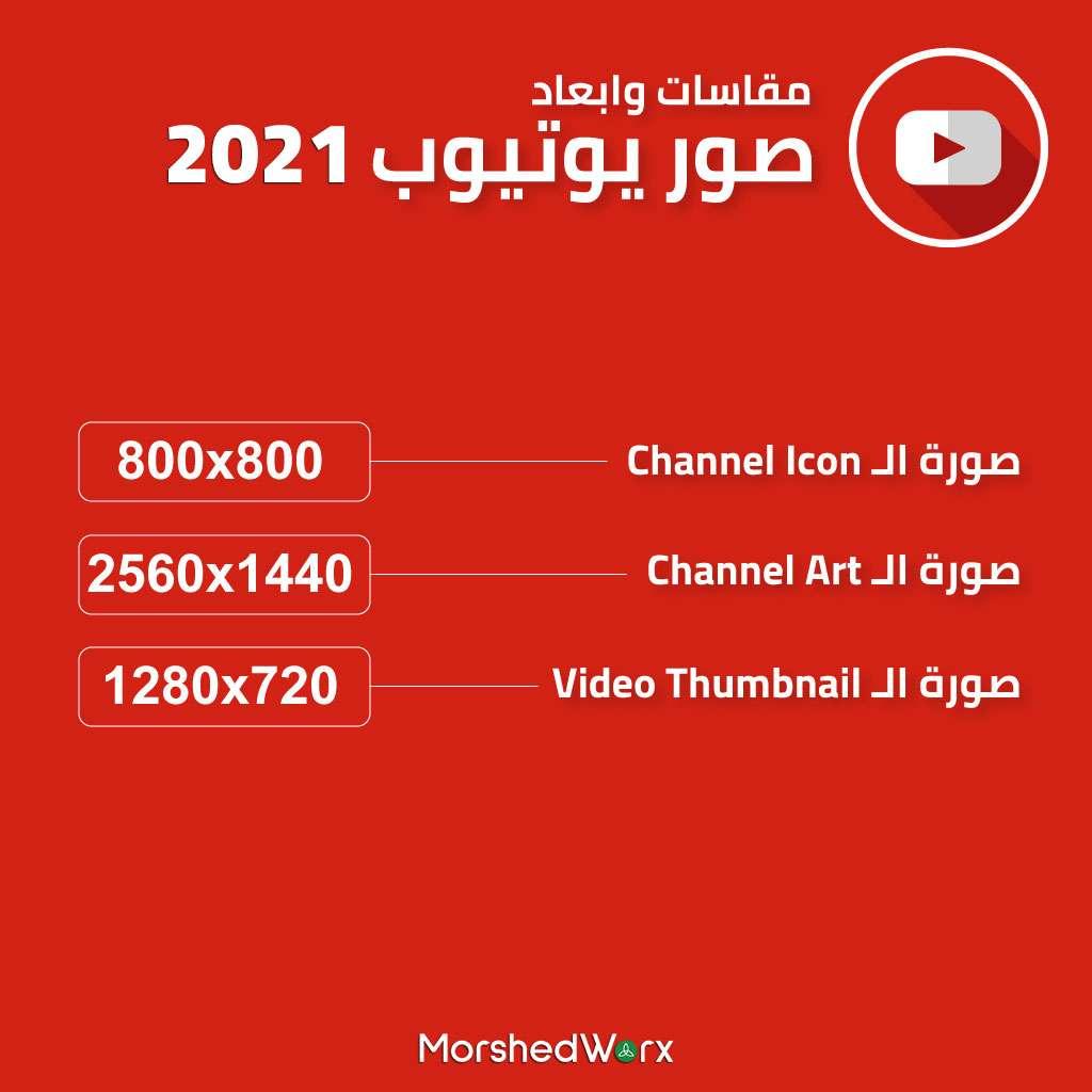 مقاسات يوتيوب 2021 مرشد وركس لتصميم المواقع والتسويق الإلكتروني